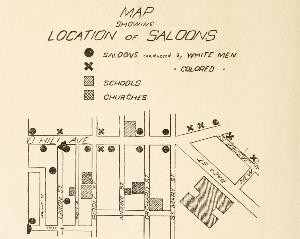 """A map showing location of saloons in the """"lower Druid Hill Avenue district"""" from the Work of the Colored Law and Order League (1908). The caption reads: """"In this district there were forty-two saloons, fifteen churches, twelve schools, one home for old people, one home for friendless children, the colored Y.M.C.A. and the colored Y.W.C.A."""""""