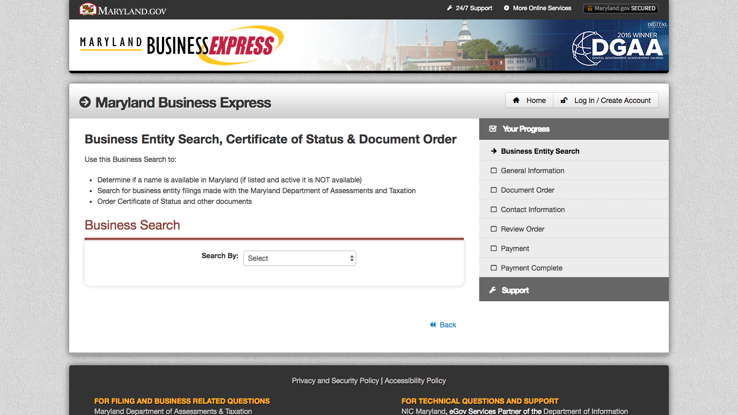 Screenshot of the SDAT business entity database search form.