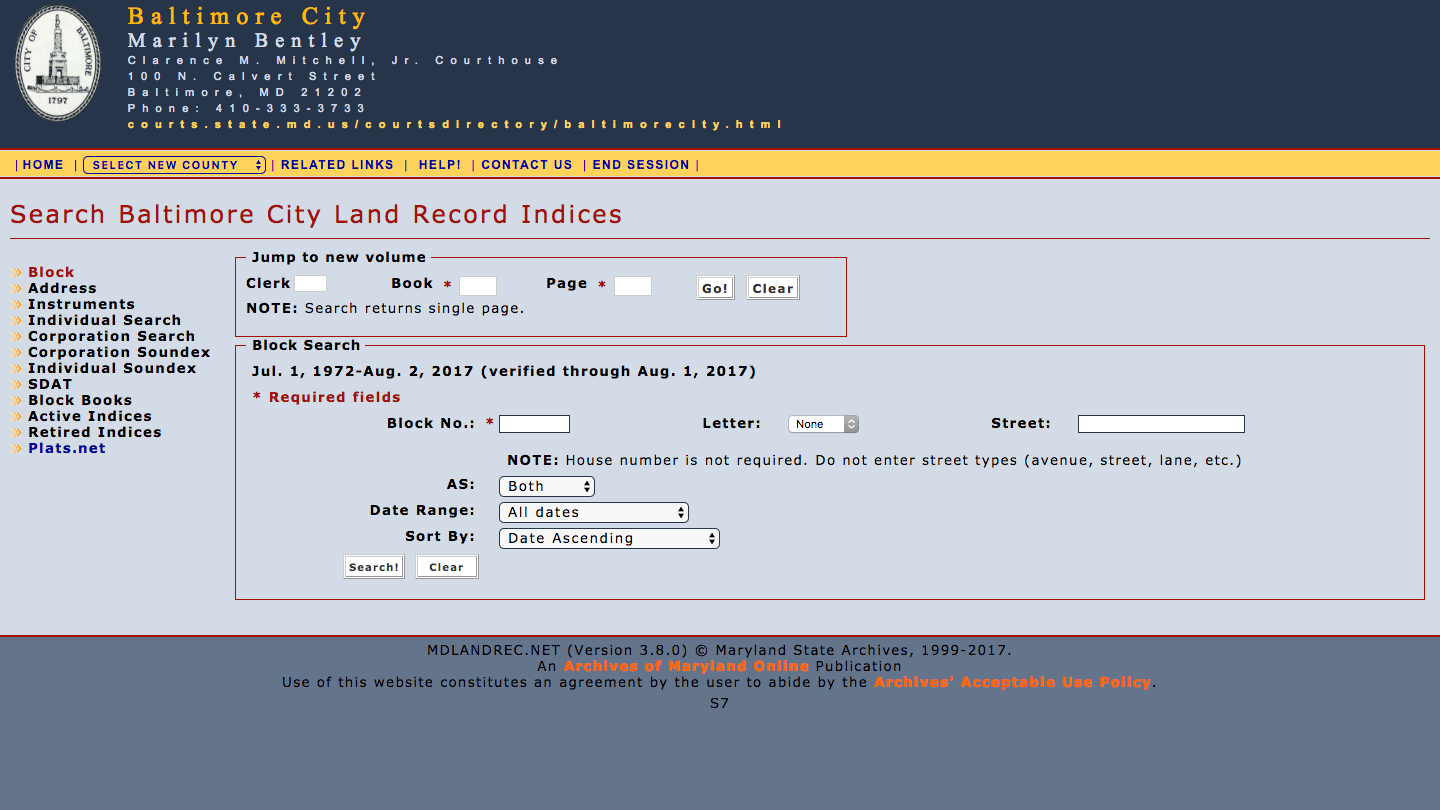 Screenshot of the MDLANDREC.NET search form for Baltimore City