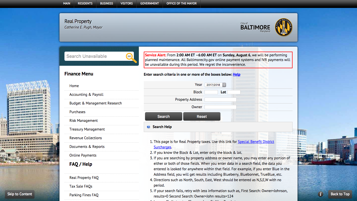 Screenshot of the SDAT property record search form.